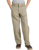 Dickies Boys Khaki Pants Flat Front Classic Fit School Uniform Sizes 4 to 20