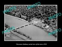 OLD POSTCARD SIZE PHOTO VINCENNES INDIANA AERIAL VIEW OF THE TOWN c1933