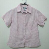 Columbia Sportswear Womens Shirt Size M Seersucker Pink Check Button Up EUC