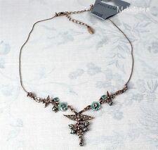 Vintage ONS PILGRIM SWALLOW Bird FLOWER Necklace Copper/Brown Swarovski BNWT
