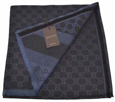 NEW Gucci 281942 XL Wool Silk Black Blue GG Guccissima Logo Scarf Shawl Wrap