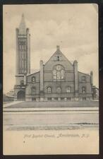 Postcard Amsterdam New York/Ny 1st First Baptist Church w/Tall Bell Tower 1905