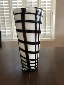 """Brown And White Glass Vase 13"""" H"""
