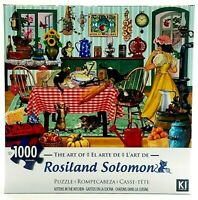 "Rosiland Solomon 1000 Piece Cat Puzzle Kittens In The Kitchen 27"" x 20"" New"