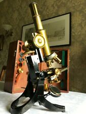 More details for antique j. swift & son ltd brass microscope with roller-stage, circa 1890, cased