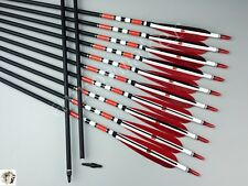 "Handmade 12PK 31"" Carbon arrows Red Black Fletching Spine 500 Hunting Arrows"