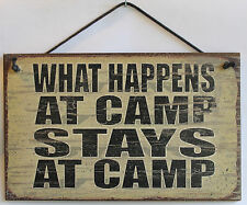 CAMP Sign What Happens at Stays Summer Camping Cabin Bedroom Kids Room USA