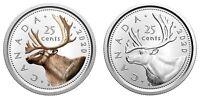 🇨🇦 Coloured + Non-Coloured Canada 25 cents, Silver Proof and Brilliant, 2020