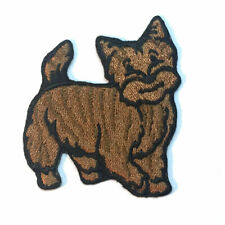 Cairn Terrier Iron On Embroidered Patch Brindle