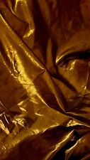 "Shiny Foil Stretch Dance Satin Touch Fabric Stretch Material 60"" Gold/Bronze"