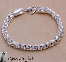 Womens Elegant 925 Sterling Silver Twisted Rope Bangle Bracelet 7.5 Inch UK Sell