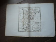 CARTE PARAGUAY CHILI TERRE MAGELLAN VAUGONDY 1805