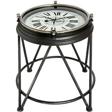 STUNNING METAL ANTIQUE STYLE CLOCK FACE OCCASIONAL LAMP SIDE TABLE (H18381)