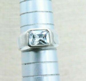 Vintage Sterling Silver Ring CZ Signet statement Gift Art Deco Size N #N916