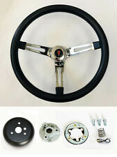 "1969-93 Pontiac Grand Prix GTO Firebird Black Foam on Chrome Steering Wheel 15"""