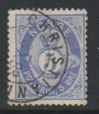 More details for norway - 1878, 5 ore ultramarine stamp - f/u - sg 52