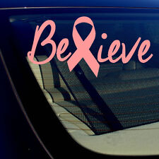 """Breast Cancer Awareness Believe Pink Ribbon Car Vinyl Decal Sticker 14"""" Inches"""