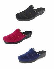 Ladies, Woman's, Kath, Velvet Wedge Heel Mule Slippers