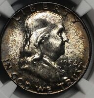 1954 NGC MS65 Silver TONED Franklin Half Dollar 50c Great Strike Luster & Patina