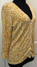 Jillian Jones Yellow White Button Down Cardigan SZ S Floral Silk Blend Stretchy
