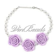 Purple Rose Flower Pendant Chunky Gumball Bead Bubblegum Jewelry Necklace