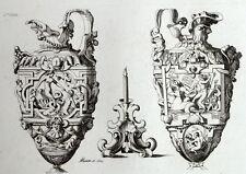 Coppia di vasi Antiche ornamento architettura incisione Riester Clerget
