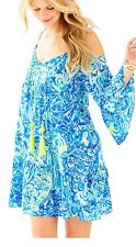 Lilly Pulitzer ALANNA OFF THE SHOULDER DRESS~Blue Crush After Party~XL~NWT