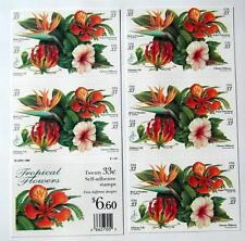 US Postage Stamps 1 BKLT Scott # 3310 - 13 TROPICAL FLOWERS  33 Cent   MNH