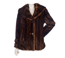 Womans Janie Bryant MOD 2 Button Fully Lined Faux Fur Coat Size Small Beautiful!