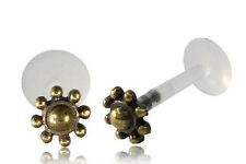 BRASS AFGHAN FLOWER TRAGUS HELIX 16G 1/4 INCH 6mm INTERNAL BIOPLAST LABRET LOBE
