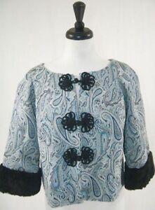 Trina Turk Women's Formal Bolero Jacket, Brocade, Fur Cuff, Blue, Small