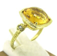 14k Yellow Gold Checkerboard Cut Citrine Cocktail Ring Diamonds Size 7.25