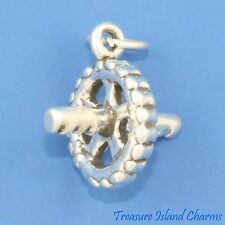 AB ROLLER FITNESS EXERCISE WORKOUT 3D .925 Solid Sterling Silver Charm USA MADE