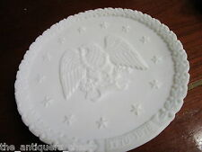 Fenton Independence plate white milk glass and carnival Christmas Day 1970 [am6]