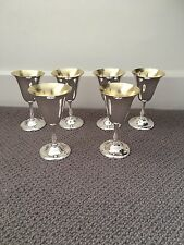 Solid Silver 800 Set of Six Wine Goblets, 438 Grams, Hallmarked