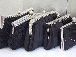 Black Diamante Crystal Satin Bridal Wedding Prom Purse Clutch Handbag Bag UK