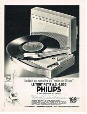 PUBLICITE ADVERTISING  1962   PHILIPS  tourne- disque  éléctrophone 2