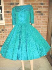 Vtg 50s EMBROIDERED TAFFETA Bow RHINESTONE Full CIRCLE Skirt PARTY Dress XS S