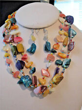 THREE STRAND MULTI COLOR SHELL GLASS SEED BEAD SILVER TONE BEAD NECKLACE EARRING