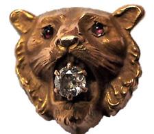 Antique VICTORIAN Gold Diamond Ruby Figural Lion Head Face Stick Pin Stickpin