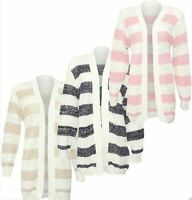 Women Long Sleeve Metallic Silver Yarn Stripe Print Knitted Open Front Cardigan