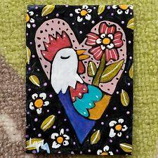 ORIGINAL ACEO Folk Art Heart Bird Chicken Rooster Flower Whimsical Leaf Botanic