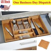 Bamboo Cutlery Tray Expandable Utensil Drawer Kitchen Organizer Insert DividerOZ