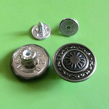 12 NO-SEW Metal Brass Tack Jeans Snap Sun Pants Buttons 16.5mm Deep Pewter G191