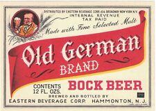 Old German Brand Bock Beer IRTP Label