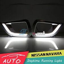 Pair DRL LED Daytime Running Light Fog Lamp For Nissan Navara NP300 2015 2016