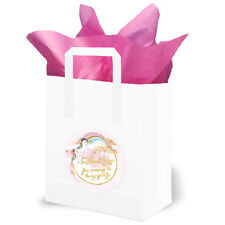 Pretty Unicorn Party Bags - Pink and Gold with Pink Tissue Paper - (Pack 10)