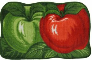 """PRINTED RUG (nonskid Polyester Pile back)(20""""x32"""") 2 APPLES,RED & GREEN, Daniel"""
