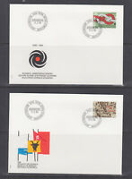 Switzerland Mi 1308/1330, 1986 issues, 5 complete sets in singles on 18 FDCs