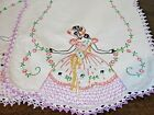 """Vintage Hand Embroidered Table Runner Southern Belle Flowers 13"""" x 35"""""""